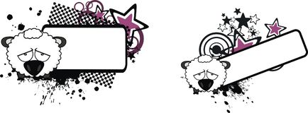 Sad ball sheep cartoon expression copyspace set. Cute baby ball sheep cartoon expression copyspace set in vector format very easy to edit Royalty Free Stock Images