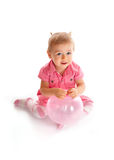 Cute baby with ballon. Cute happy baby girl with ballon Royalty Free Stock Photography