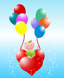 Cute baby with balloon. Baby flying with heart balloon Stock Images