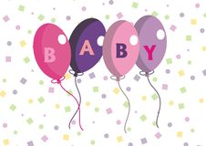 Cute Baby Balloons. Baby balloons with confetti background Royalty Free Stock Photo