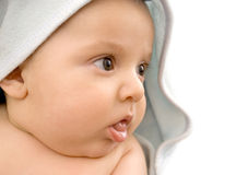 Cute baby after bath. Cute baby with towel arfter taking bath Stock Images