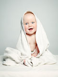 Cute Baby after Bath, Parental Care Concept. Stock Photo