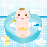Cute baby bathing Stock Photo