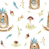 Cute baby bear animal seamless pattern for kindergarten, nursery. Isolated  illustration for children clothing. Watercolor Hand drawn boho image Perfect for Stock Photos