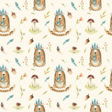 Cute baby bear animal seamless pattern for kindergarten, nursery Royalty Free Stock Photo