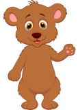 Cute baby bear cartoon waving hand Stock Photo