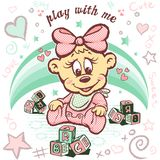Cute baby bear character design. Textile tee shirt comics character graphic illustration art design print resources here Royalty Free Stock Image