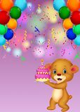 Cute baby bear holding birthday cake Royalty Free Stock Images