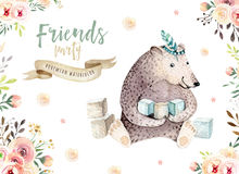 Cute baby bear nursery animal isolated illustration for children. Bohemian watercolor bohemian family drawing Stock Image