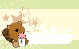 Cute baby beaver cartoon background copyspace Royalty Free Stock Images