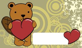 Cute baby beaver cartoon valentine love card Royalty Free Stock Images