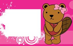Cute baby beaver girl valentine background Royalty Free Stock Image