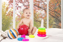 Cute baby on bedroom at home Royalty Free Stock Photography