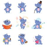 Cute baby behemoth character in action Royalty Free Stock Photos