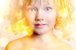 Cute baby with big blue eyes Royalty Free Stock Images