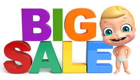 Cute baby with Big sale sign. 3d rendered illustration of cute baby with Big sale sign Royalty Free Stock Photos
