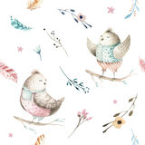 Cute baby bird animal seamless pattern, forest illustration for children clothing. Woodland watercolor Hand drawn boho Stock Image