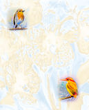 Cute baby birds on the branches  watercolor painting Stock Photo