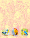 Cute baby birds on the branches  watercolor painting Stock Photography