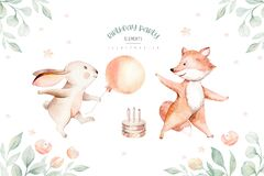 Cute baby birthday party nursery watercolor dancing fox and bunny rabbit animal isolated illustration for children baby