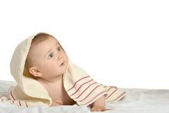 Cute baby with blanket. Portrait  of Beautiful cute baby with blanket Stock Image