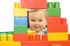 Cute baby with blocks Stock Photography