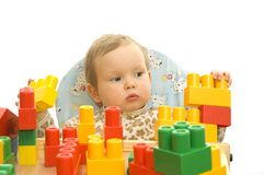 Cute baby with blocks Stock Photos