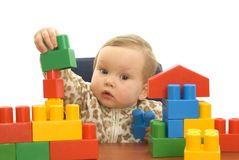 Cute baby with blocks. Cute baby girl with colorful blocks isolted background stock photos