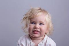 Cute baby blonde. Long hair blue eyes Stock Photo