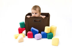 Cute Baby in Box Royalty Free Stock Photo