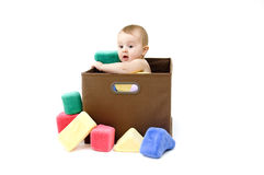 Cute Baby in Box Royalty Free Stock Photos