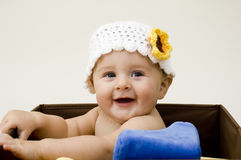 Cute Baby in Box stock photo