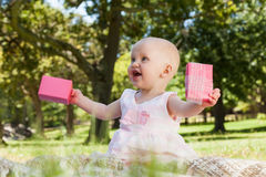 Cute baby with box at the park. Cute happy baby sitting on blanket with a box at the park Royalty Free Stock Images