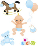 Cute baby boy. Baby boy and baby's toys Stock Photo