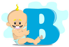 Cute baby boy. With letter Royalty Free Stock Photo