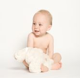 Cute Baby Boy. An adorable, cute baby boy sits so proudly for this portrait Royalty Free Stock Photos