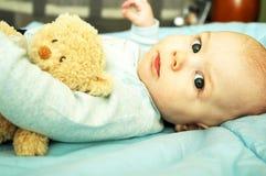 Cute baby boy. A cute baby boy with his teddy bear Stock Photography