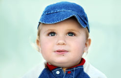 Cute baby boy. Cute happy 14 month old baby in a hat Stock Photos