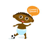 Cute Baby Boy African American With Football Ball Toddler Happy Cartoon Infant In Diaper. Flat Vector Illustration Stock Photography