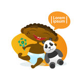 Cute Baby Boy African American Happy Embracing Panda Bear Toy Toddler Cartoon Infant In Diaper. Flat Vector Illustration Royalty Free Stock Photo