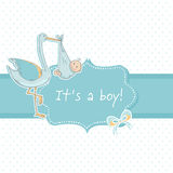 Cute baby boy announcement card with stork and chi Royalty Free Stock Image