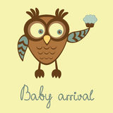 Cute baby boy arrival announcement card. With owl holding cupcake Royalty Free Stock Photography