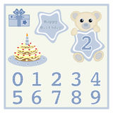 Cute baby boy bears vector illustration with star and numbers symbol Birthday cake and candle vector Cartoon baby animal vector Ha Royalty Free Stock Images
