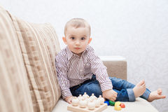 Cute baby boy with blocks Stock Photo