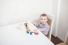 Cute baby boy with blocks Stock Photo