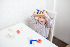 Cute baby boy with blocks Stock Photography