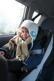 Boy in car. Cute baby boy in car, safety trip Stock Image