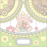 Cute  baby boy card. Cute  baby boy arrival card illustration Royalty Free Stock Photography