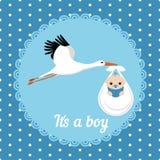 Cute Baby Boy Card. Stork carrying a cute baby boy. It's a boy card Stock Photo