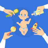Cute baby boy cry loud. Sad child. With arms around. Face emotion with tears. Isolated vector illustration in cartoon style royalty free illustration